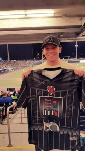 Sean with his Star Wars team-signed jersey.